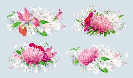 Set of vintage floral vector bouquets: pink Chrysanthemums, Tulips, red Peonies, Apple blossom. Botanical drawing in watercolor style for greeting cards, flower wedding invitations, spring summer sales.