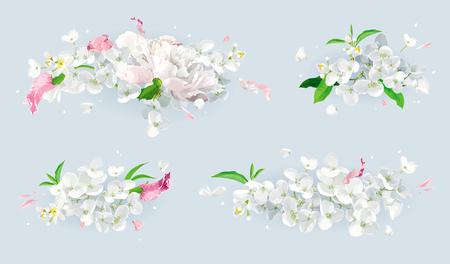 Set of vintage floral vector bouquets Illustration