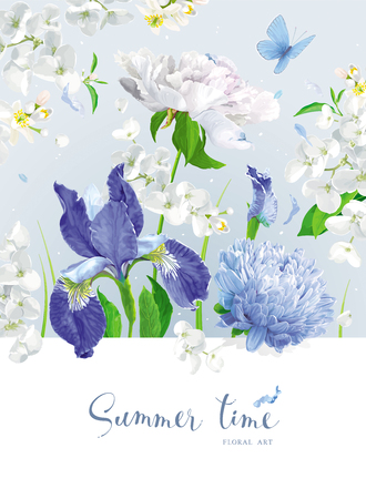Vintage vector bouquet:blooming Chrysanthemums, blue Irises, Asters, Peonies, Apple blossom, garden flowers. Botanical drawing in watercolor style.