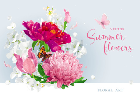 Vintage vector bouquet:blooming pink Chrysanthemums, Tulips, Asters, red Peonies, Apple blossom, garden flowers. Botanical drawing in watercolor style. Template for greeting cards, wedding decorations, spring summer sales Ilustração