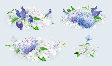 Set of vintage floral vector bouquets: blue Chrysanthemums, Irises, white Peonies, Apple blossom. Botanical drawing in watercolor style