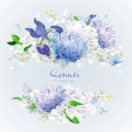 Vintage floral vector rosette: blue Chrysanthemums, Irises, white Peonies, Apple blossom. Botanical drawing in watercolor style