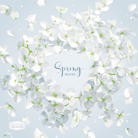 Floral vector art - luxurious white Hydrangea flower and Apple blossom composition with flying petals. Template for 8 March, wedding, Valentines Day,  Mothers Day, sales and other seasonal events.