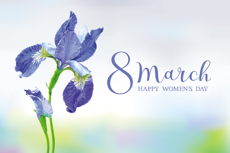 8 March vector greeting card. Blue Iris flower with bud on blurred sky background with lettering. Botanical drawing in watercolor style
