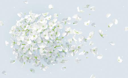 Vento estivo - lussuoso fiore bianco ortensia vettoriale e melo con petali volanti in stile acquerello per l'8 marzo, matrimonio, San Valentino, festa della mamma, saldi e altri eventi stagionali Vettoriali
