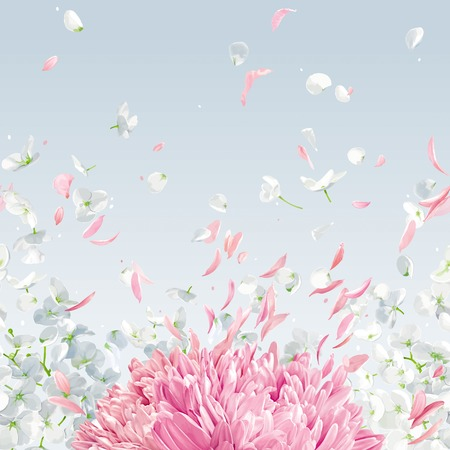 Summer wind - luxurious white vector Hydrangea flower, Apple blossom, Pink Chrysanthemums, horizontal seamless background with flying petals in watercolor style