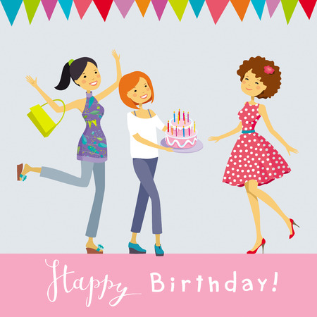 Happy Birthday - vector greeting card with happy people on the Birthday Party Ilustração