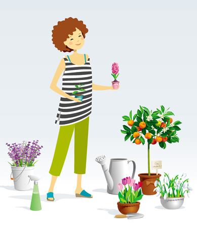 Gardener girl and a collection of the pot plants, citrus trees, flowers, garden tools