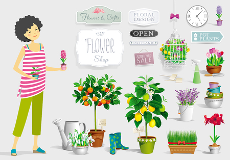 Gardener girl and a big collection of the pot plants, citrus trees, flowers,  garden tools and  signboards Ilustração