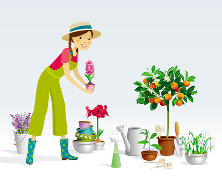 Gardener girl and a collection of the pot plants, citrus trees, flowers and garden tools