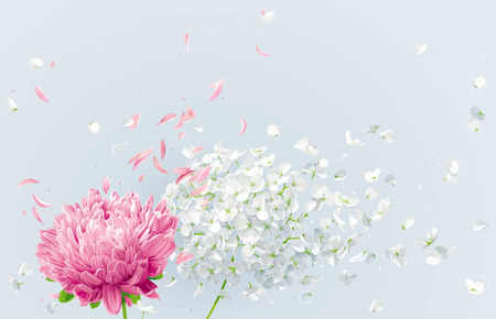 Summer wind - white vector Hydrangea flower, Apple blossom and pink Chrysanthemumwith flying petals in watercolor style for 8 March, wedding decoration, Valentines Day,  Mothers Day, seasonal sales