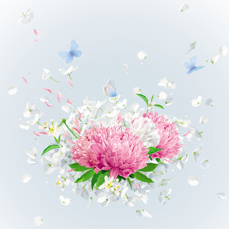 Summer wind - luxurious white vector Hydrangea flower,  Apple blossom, Pink Chrysanthemums with flying petals in watercolor style for 8 March, wedding, Valentines Day,  Mothers Day, seasonal  sales