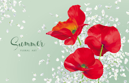 Luxurious bright red vector Poppy and white Hydrandea flowers drawing in watercolor style with flying petals  for floral decoration