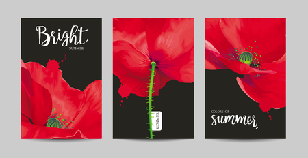 Luxurious bright red poppy flowers paintings on a black background with blots and splashes for floral decoration.