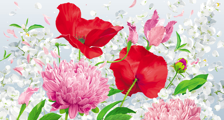 Vintage floral background with chrysanthemums, poppies, hydrangeas, peonies, apple blossom and garden flowers.