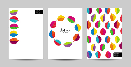 Vector set of the autumn patterns and wreath of brightly colored leaves. Creative templates for wedding,  advertising , greeting cards, invitations, sales, posters, banners, brochure covers
