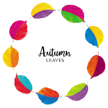 Brightly colored autumn leaves vector wreath. Template for summer and autumn decoration, invitations, congratulations, sales, greeting cards, advertising