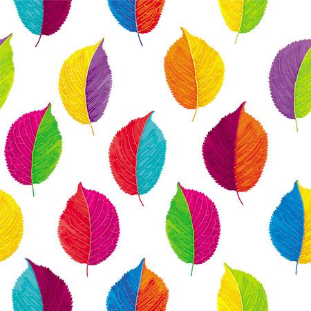Brightly colored autumn leaves vector seamless background. Ilustração