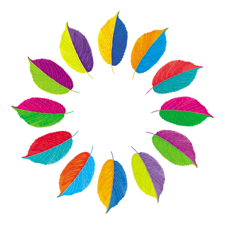 Vector color wheel with opposite colors made from multi-colored leaves