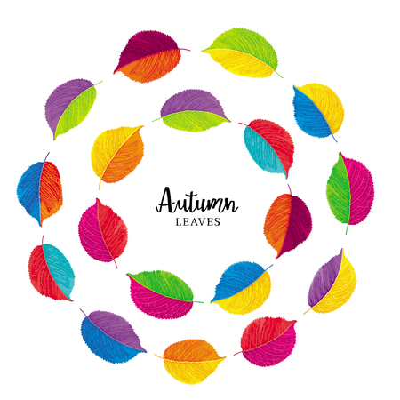 Floral composition in the form of concentric circles of autumn multicolored vector leaves. Template for summer and autumn decoration, invitations, congratulations, sales, greeting cards, advertising