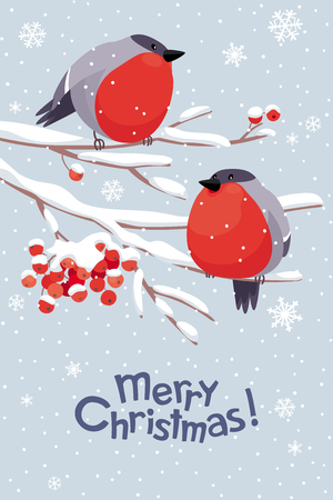 Funny Bullfinches and Rowan tree under the snowfall. Vector Christmas card with round plate. For Christmas decoration, posters, banners, sales and other winter events Ilustração