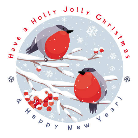 Funny Bullfinches and Rowan tree under the snowfall. Vector Christmas card with round plate. For Christmas decoration, posters, banners, sales and other winter events.