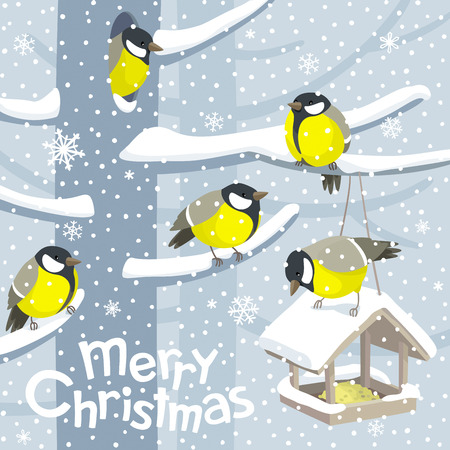 Funny Tits and birdfeeder on winter tree under the snowfall. Vector Christmas image. For Christmas decoration, posters, banners, sales and other winter events.