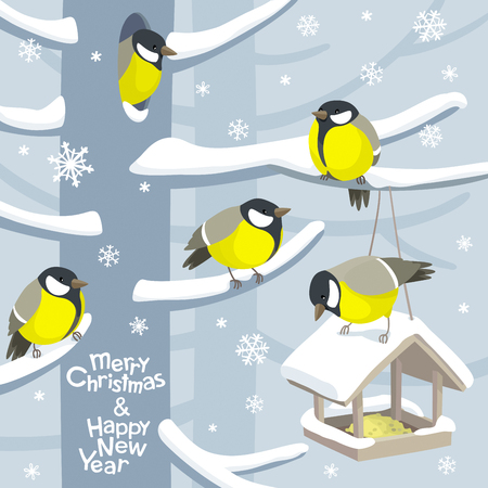 Funny tits and bird feeder Vector Christmas image. For Christmas decoration