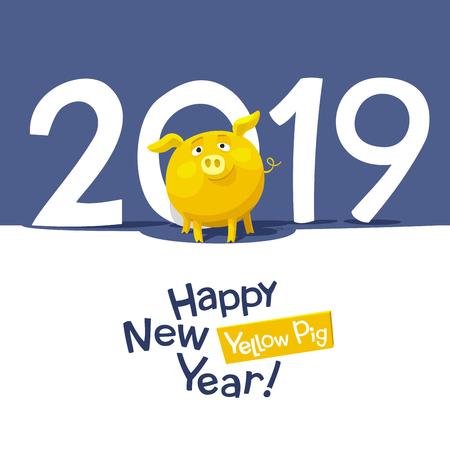 Yellow Pig - Chinese zodiac symbol of the New Year 2019