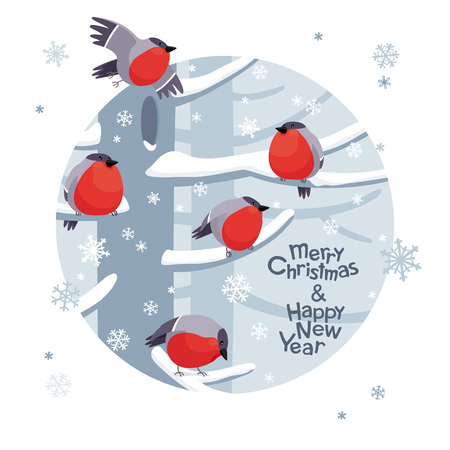 Funny red Bullfinches. Vector Christmas image. Cute winter birds for Christmas decoration, posters, banners, sales and other winter events Ilustração