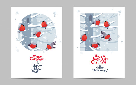 Funny red Bullfinches Christmas greeting cards set. Vector Christmas image. Cute winter birds for Christmas decoration, posters, banners, sales and other winter events.