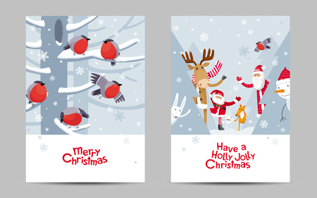 Funny Christmas greeting cards set. Vector Christmas and New Year image. Cute cartoon  animals, birds and Santa for Christmas decoration, posters, banners, invitations, sales and other winter events Çizim