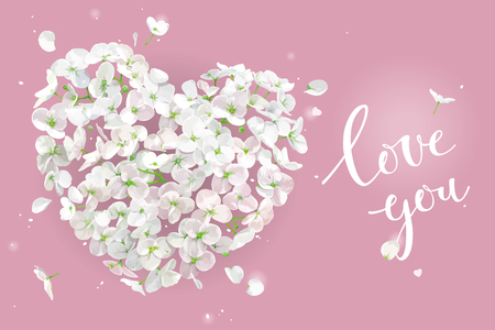 White Apple blossom vector Heart with flying petals in watercolor style on pink background for Valentines Day,  8 March, wedding,  Mothers Day, seasonal  sales Çizim