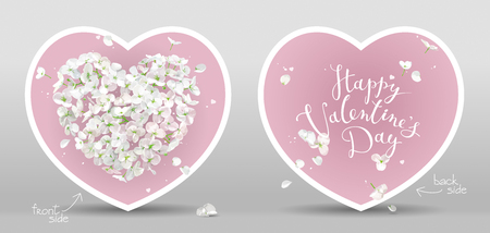 Valentines - white Apple blossom vector heart with flying petals in watercolor style on pink background.