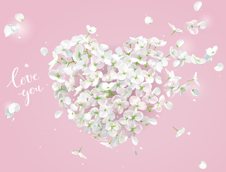 White Apple blossom vector Heart with flying petals in watercolor style on the wind on pink background for Valentines Day,  8 March, wedding,  Mothers Day, seasonal  sales Stock Illustratie
