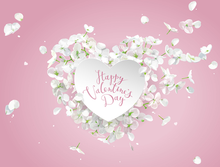 White Apple blossom vector Heart with flying petals in watercolor style on the wind on pink background for Valentines Day,  8 March, wedding,  Mothers Day, seasonal  sales Çizim