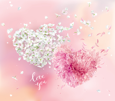 Romantic vector image for Valentines Day. Two vector flower hearts with flying petals on pink background in watercolor style. Apple blossom and pink Chrysanthemum composition for Valentines Day, 8 March, wedding,  seasonal  sales Çizim