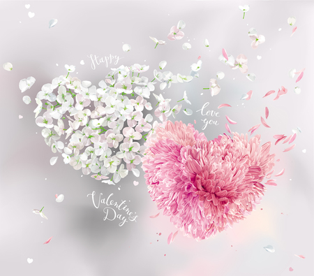 Romantic vector image for Valentines Day. Two vector flower hearts with flying petals in watercolor style. Apple blossom and pink Chrysanthemum composition for Valentines Day, 8 March, wedding,  seasonal  sales Çizim
