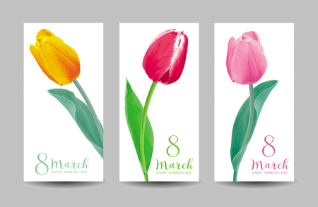 Tulips for 8 March. Set of flower vector greeting card in watercolor style with lettering design Banco de Imagens - 125338773