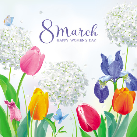 Tulips and spring flowers in amazing garden for Womens Day 8 March. Floral vector card in watercolor style with lettering design for 8 March, wedding, Valentines Day,  Mothers Day, sales