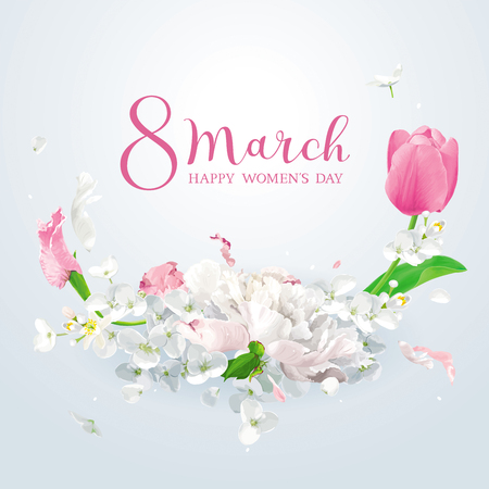 Tulips, peonies and Apple blossom for 8 March. Flower vector greeting card with spring flowers composition in watercolor style with lettering design