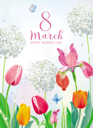 Tulips and spring flowers in amazing garden for Women's Day 8 March. Floral vector card in watercolor style with lettering design