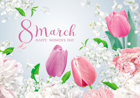 Flowers for 8 March. Vector greeting card in watercolor style with lettering design for 8 March, wedding, Valentine's Day,  Mother's Day, sales and other seasonal events. Banco de Imagens - 117080692