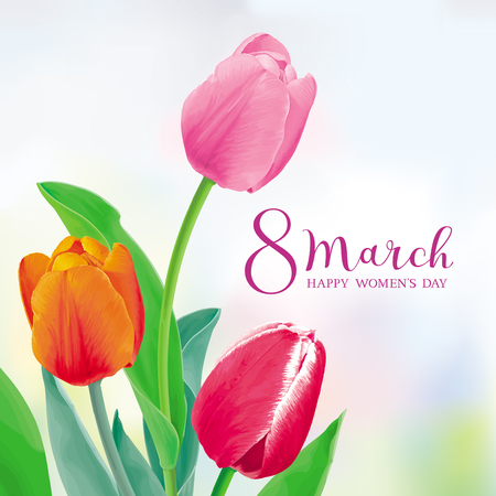 Amazing Tulips. Flower vector greeting card in watercolor style with lettering design for 8 March, wedding, Valentine's Day,  Mother's Day, sales and other events. Ilustração