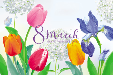 Amazing Tulips and spring flowers for 8 March. Floral vector greeting card in watercolor style with lettering design for 8 March, wedding, Valentine's Day,  Mother's Day, sales and other events. Ilustração