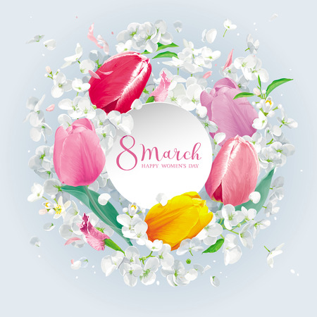 Tulips and Apple blossom for 8 March. Flower vector greeting card in watercolor style with lettering design and round paper label