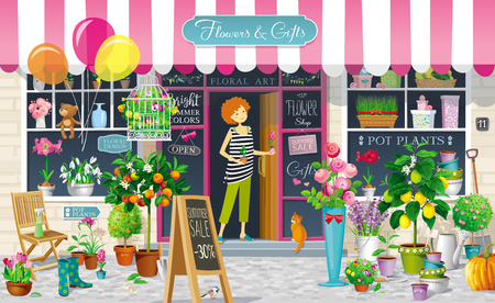 Showcase of the Flower Shop with flower girl and a collection of the flowers, pot plants, citrus trees, garden tools. Vector drawing Ilustração