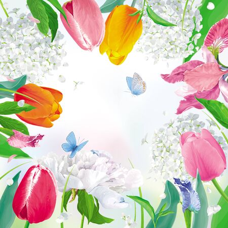 Bright Tulips, Peonies, Irises, Hydrangeas. Ffloral vector background in watercolor style for Women's Day 8 March, Valentine's Day,  Mother's Day, seasonal sales, cards, banners, posters, weddings
