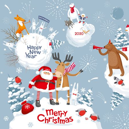 Christmas Galaxy. Vector Merry Christmas and New Year image with Cute cartoon  animals, birds and Santa for greeting cards, posters, banners, sales and other winter events. Banco de Imagens - 137048174