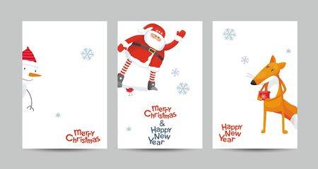 Set of a creative vector Christmas cards with a set of images and lettering design in minimalist style Ilustração